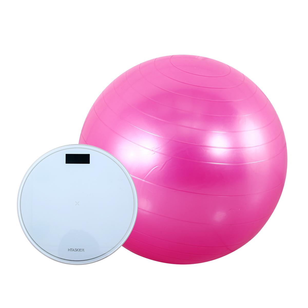 宏太HTASK 光滑瑜伽球+液晶背光电子秤带温度显示 HT-01NQ-1ES