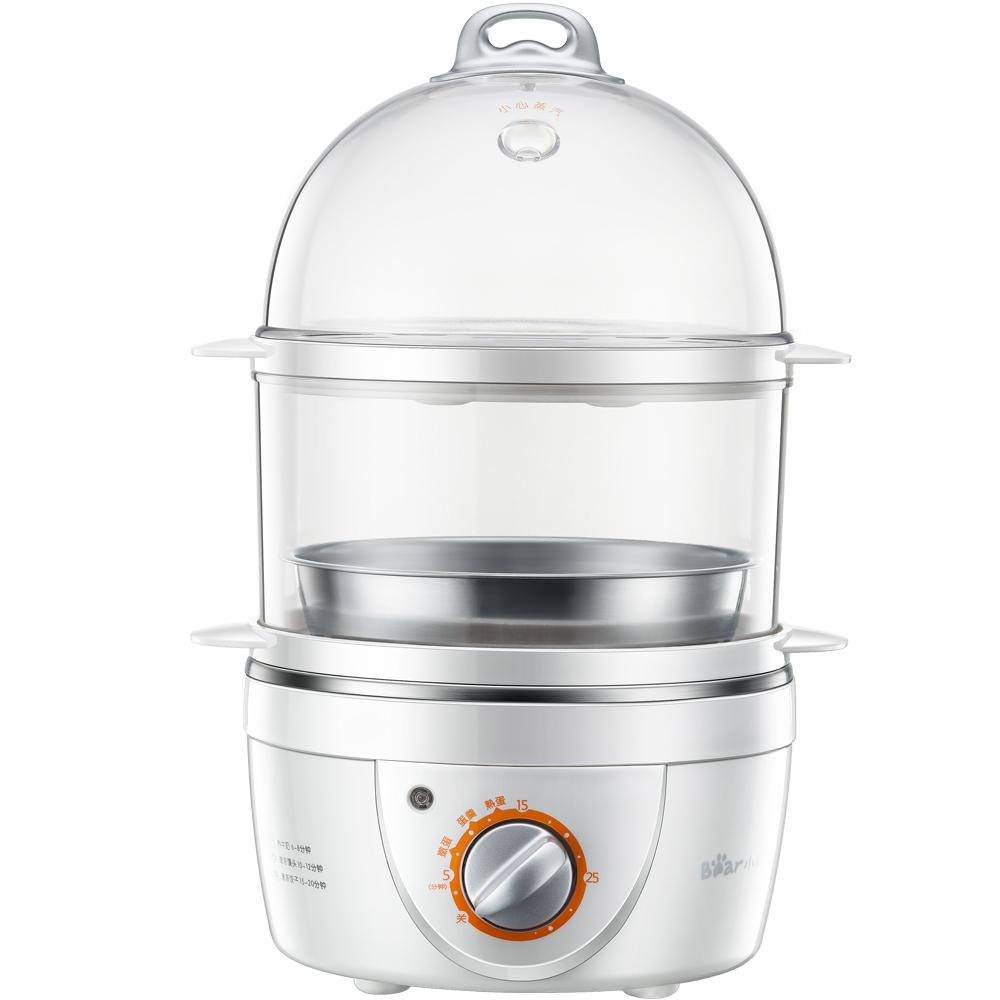 小熊(Bear) 煮蛋器 家用蒸蛋器早餐機旋鈕可定時煮蛋機單雙層自動斷電送304不銹鋼蒸碗ZDQ-2151
