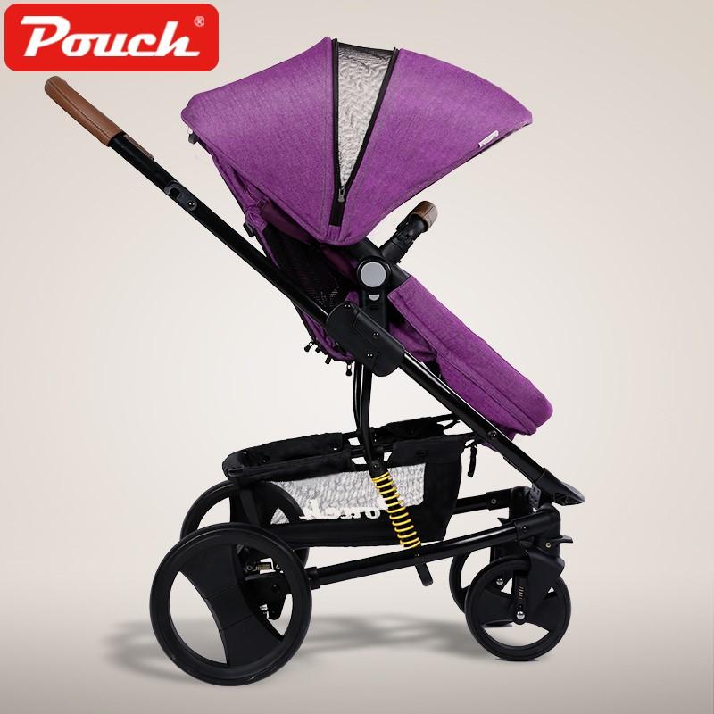 Pouch嬰兒推車高景觀可坐可躺雙向兒童手推車可折疊輕便寶寶推車P35