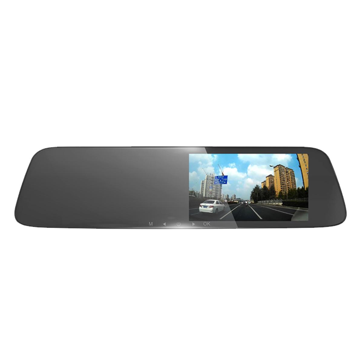 任我游后視鏡汽車車載行車記錄儀雙鏡頭高清夜視停車監控倒車影像5寸IPS防炫目鏡面 U371E