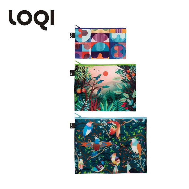 LOQI潮流分类整理收纳旅行时尚化妆洗漱防泼水三件套 奇幻森林系列时尚收纳袋ZP.HH