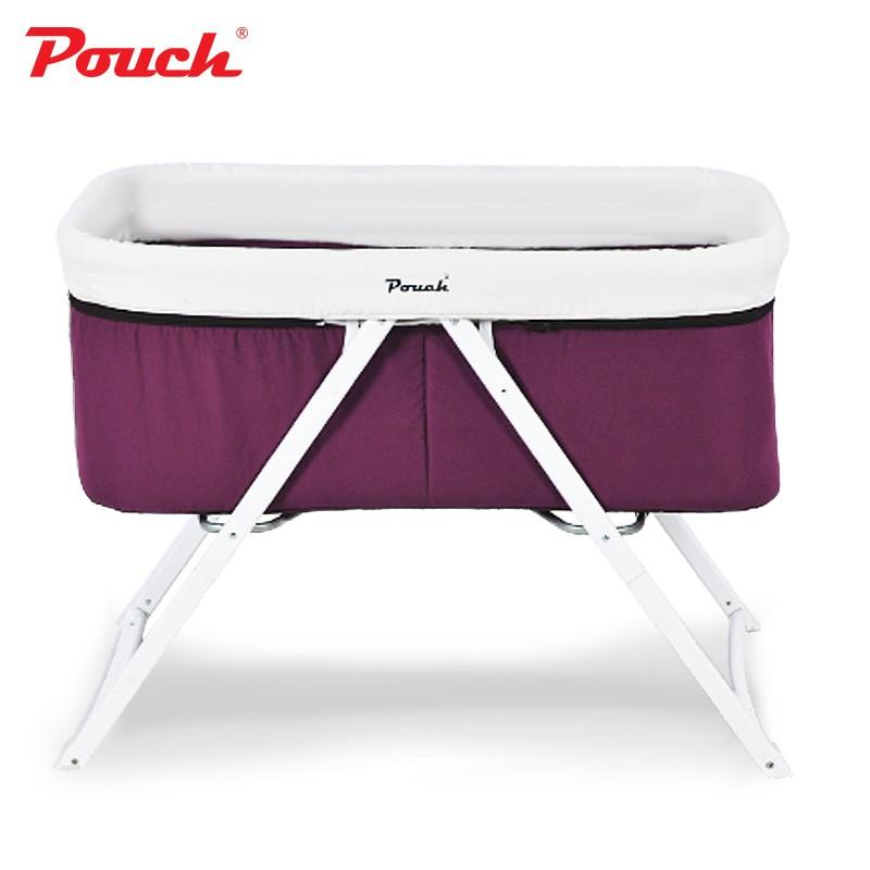 pouch嬰兒床歐式兒童床多功能搖床寶寶床可折疊便攜旅行搖籃床H19鋁合金款紫色