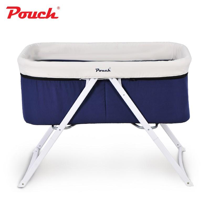 pouch嬰兒床歐式兒童床多功能搖床寶寶床可折疊便攜旅行搖籃床H19鋁合金款藍色