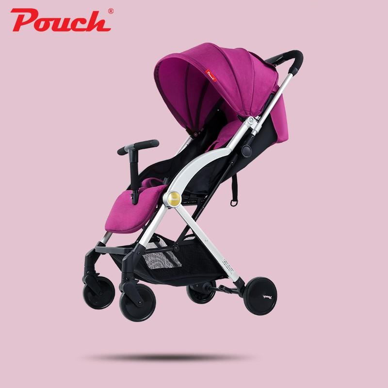 Pouch嬰兒推車超輕便可坐可躺便攜式傘車折疊嬰兒車兒童手推車A22神秘紫
