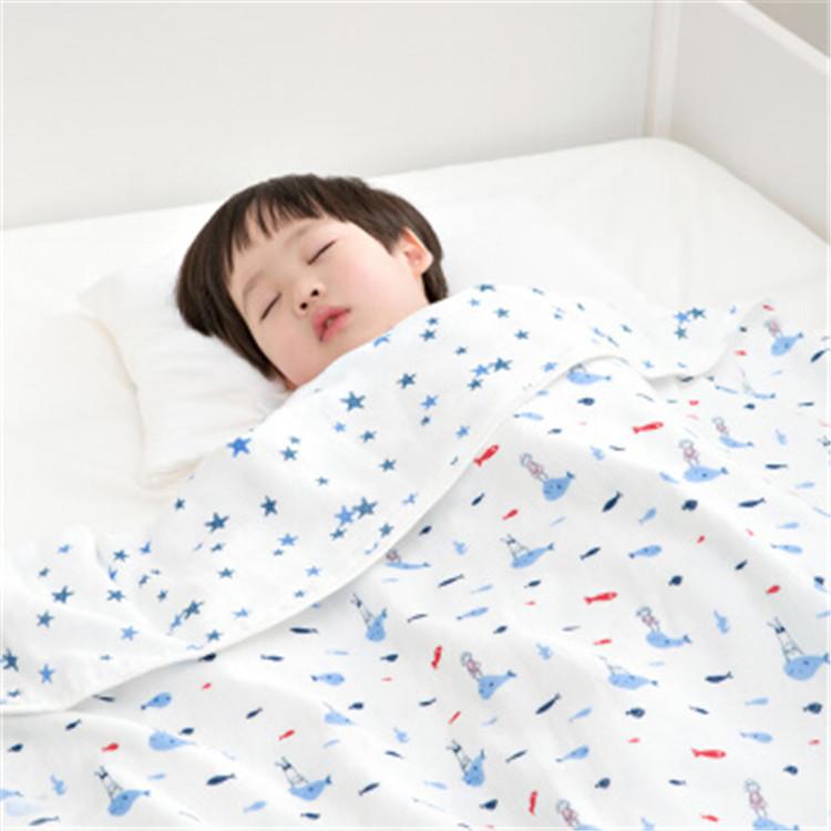 全棉時代兒童紗布空調被 鯨魚小孩+藍星星