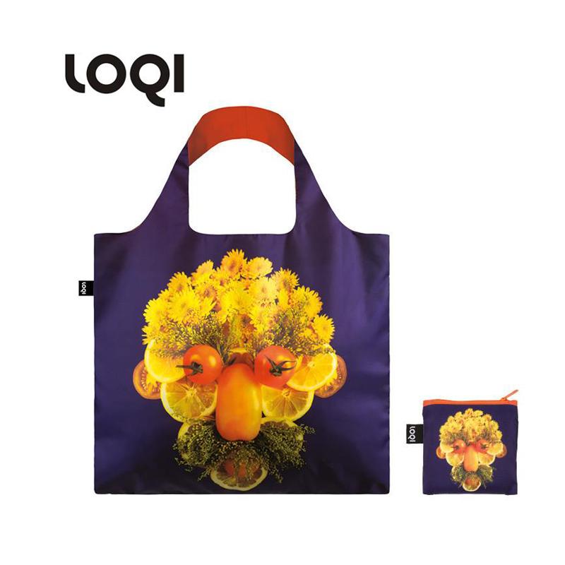 LOQI春卷包 艺术系列单肩包时尚可爱文艺女包  紫底蔬菜脸 环保万用袋