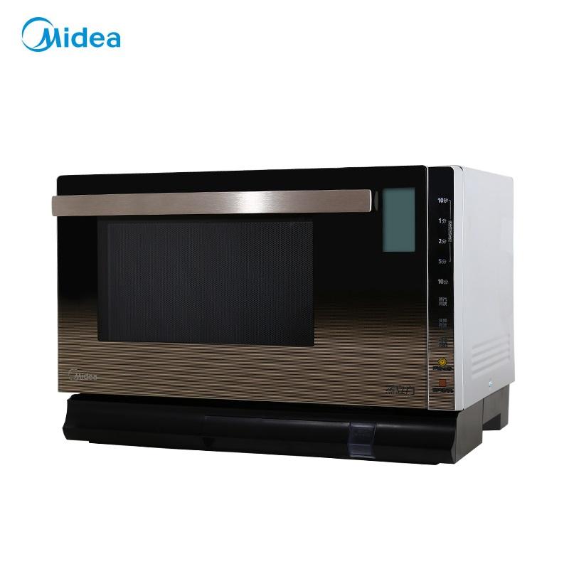Midea/美的 X5-252C廚房美的智能微波爐蒸汽光波爐蒸立方智能平板25L金色