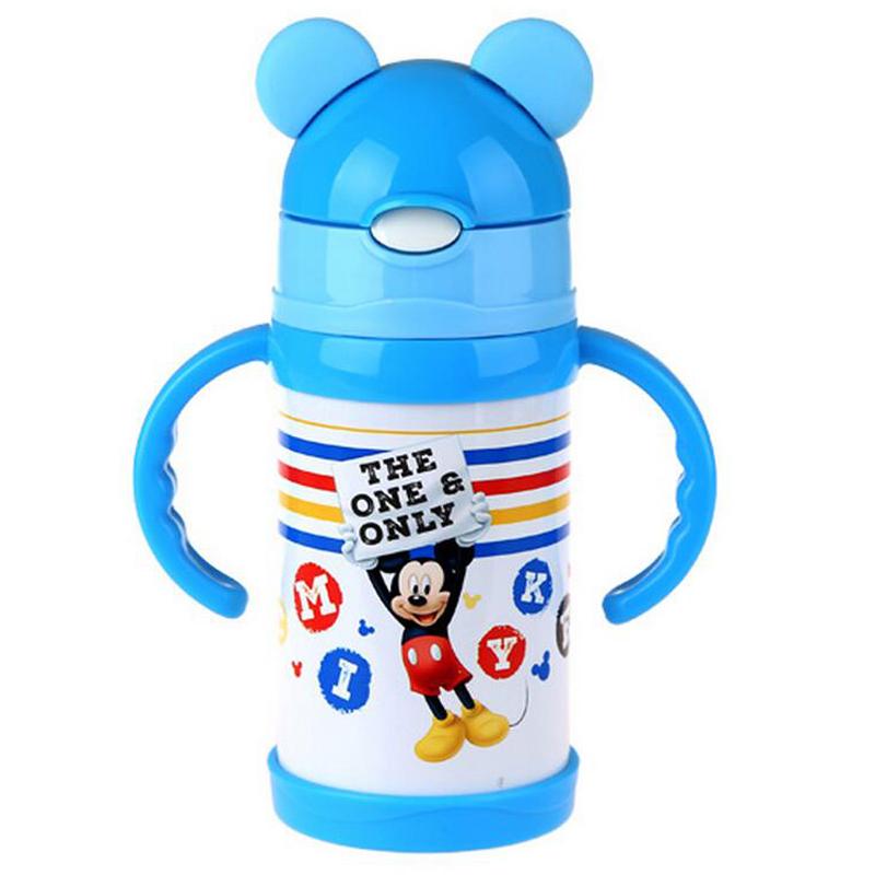 迪士尼儿童带吸管保温杯便携水杯卡通造型300ml保温保冷儿童专用型HM3144蓝白色
