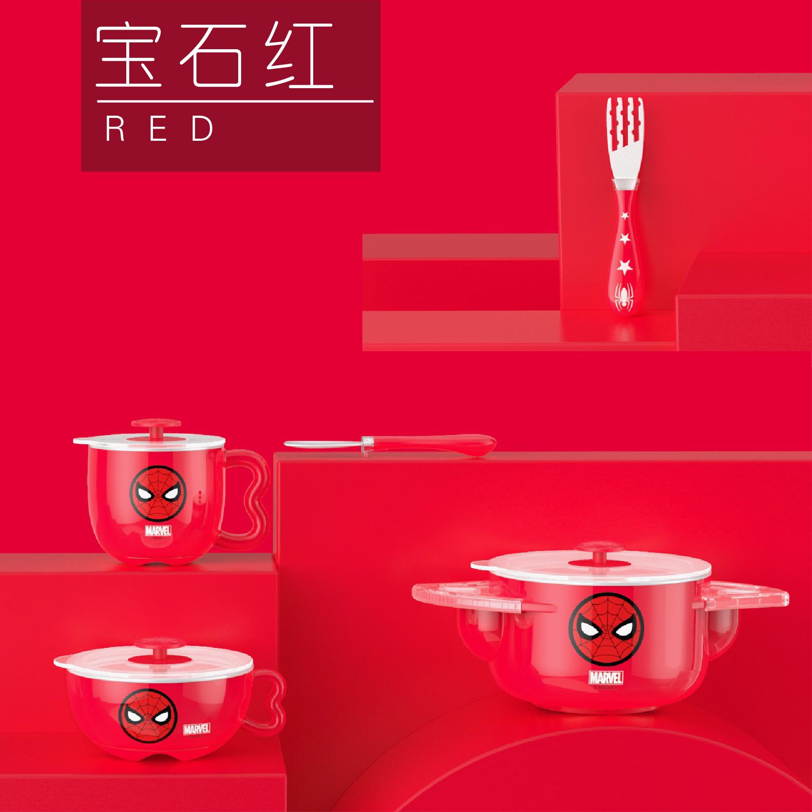 迪士尼紅色蜘蛛俠不銹鋼兒童專用餐具套裝(5件套)