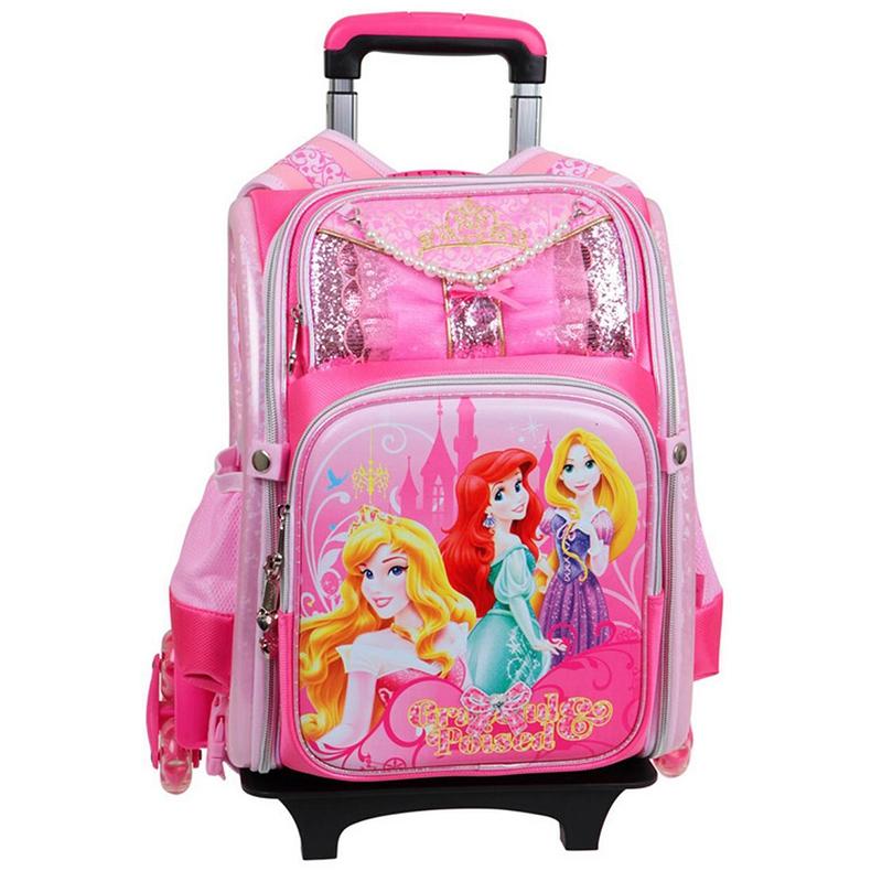 迪士尼(Disney)拉杆包中小学生护脊背包儿童可拆卸拉杆减负双肩包BP6323A 粉色