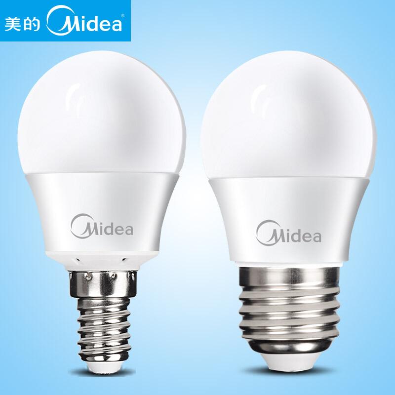 美的(Midea)3w led灯泡 E27大螺口 3瓦节能灯泡节能高亮护眼球泡光源 E27螺口 5700K 暖白光 3W 十只装