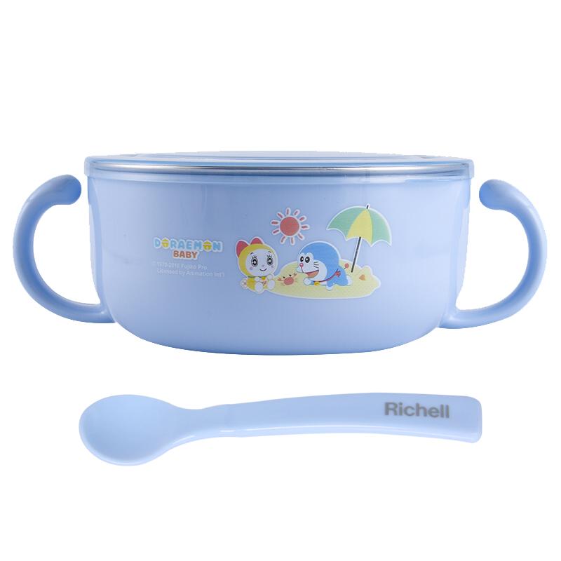 利其爾哆啦A夢寶寶不銹鋼隔熱碗(帶湯匙)620mL(藍色)