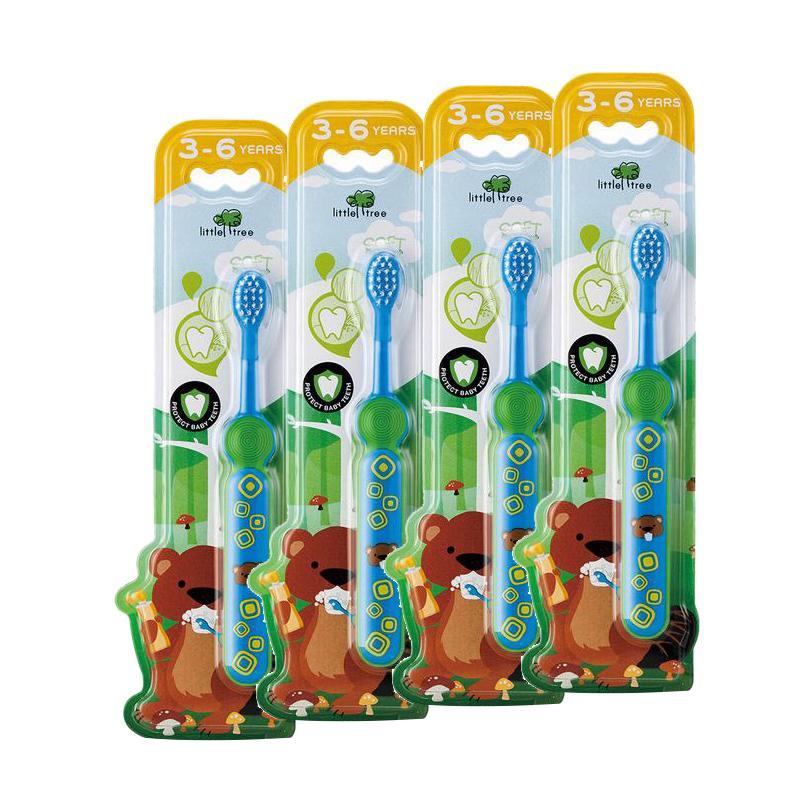 小樹苗兒童牙刷軟毛寶寶乳牙刷訓練牙刷嬰幼兒嬰兒牙刷藍色3-6歲4支裝