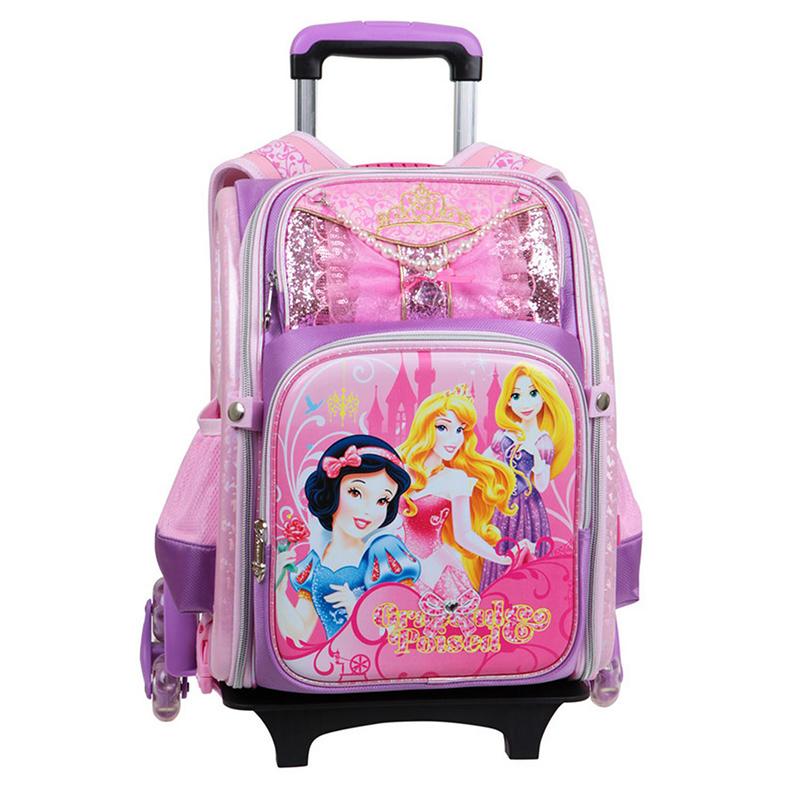 迪士尼(Disney)拉桿包中小學生護脊背包兒童可拆卸拉桿減負雙肩包6輪BP6323B 紫色