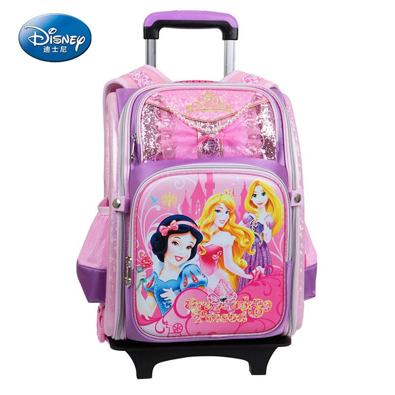 迪士尼(Disney)拉杆包小公主儿童小学生护脊背包儿童可拆卸拉杆减负双肩包两轮BP6317B 紫色