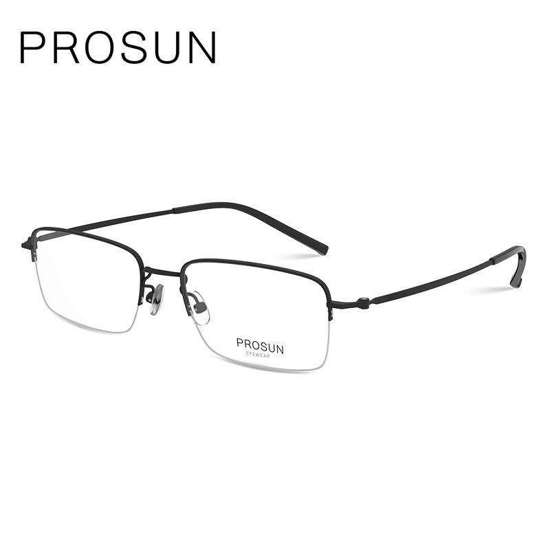PROSUN保圣眼鏡男女簡約近視眼鏡圓臉眼鏡框個性半框眼鏡架PJ7011B10