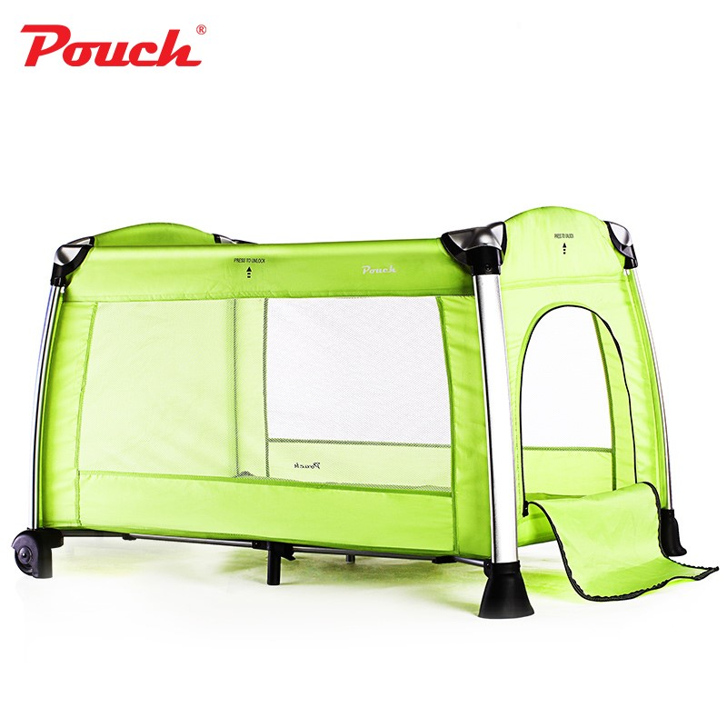 Pouch便攜折疊嬰兒床兒童鋁合金床 寶寶的游戲床多功能bb床H13紅色